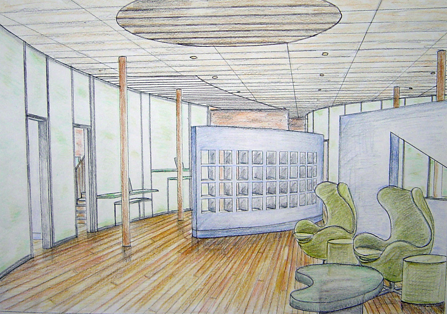 Interior Design Drawings Perspective. Newmark Building Perspective Drawing  Interior Design Drawings C
