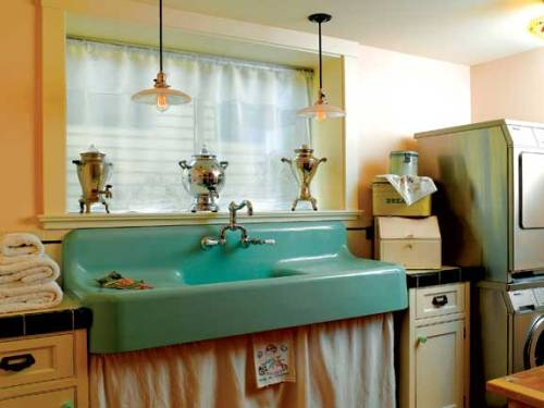 A Lovely Vintage Kitchen With An Amazing Skirted Apron Sink Gets Its Glow  From Two Pretty Pendant Kitchen Lights.