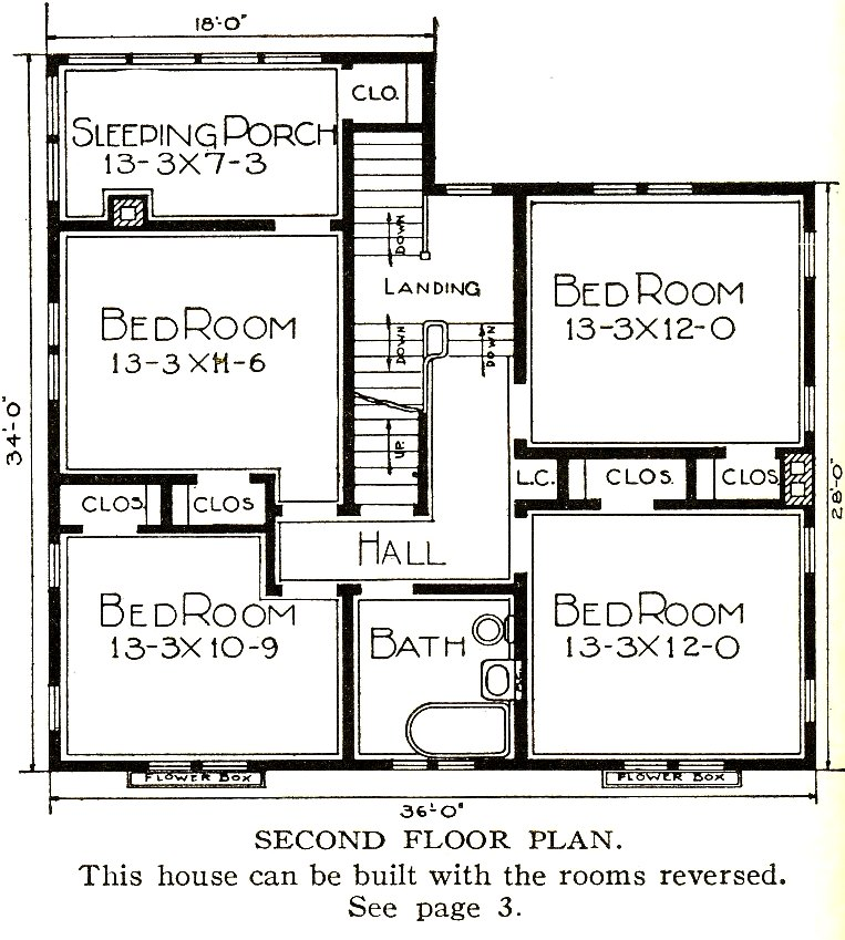 A Sears House Plan - Second Floor from 1921 - with Sleeping Porch; www.searshomes.org/index.php/2012
