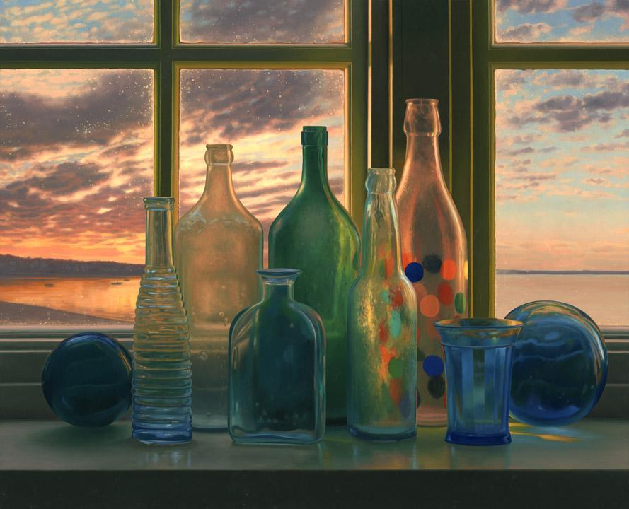 Bottles, Provincetown Sunrise - Scott Prior http://scottpriorart.com/paintings/still-lifes/?pid=103