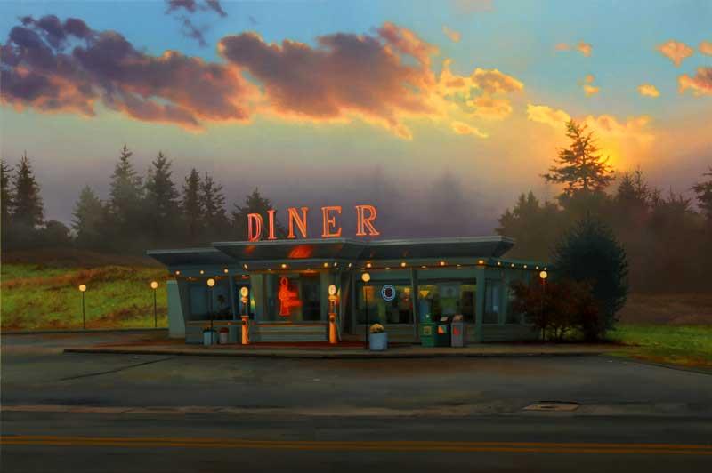 Diner at Sunrise Scott Prior http://scottpriorart.com/recent-works-7/?pid=112